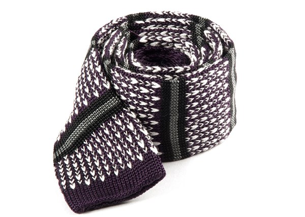Journey Stripe Eggplant Tie