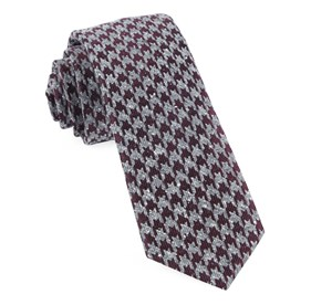 Houndstooth Thrill Burgundy Ties
