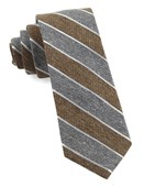 Ties - Splattered Repp Stripe - Brown