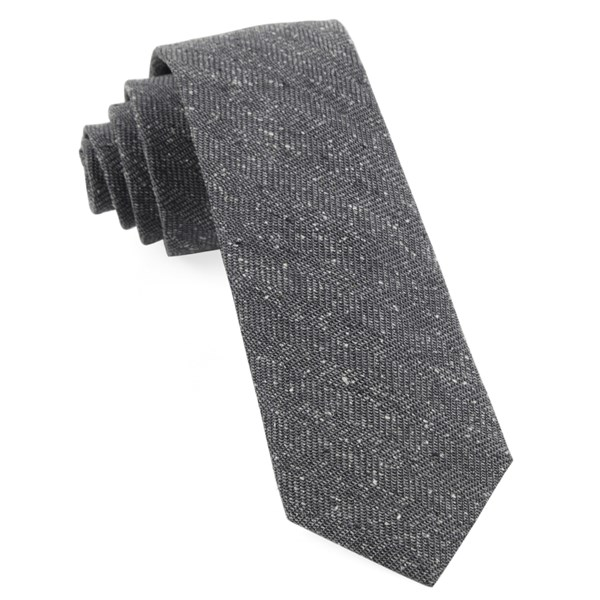 Grey Threaded Zig-Zag Tie