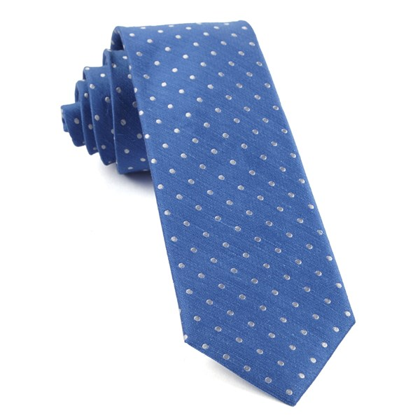 Light Cobalt Blue Dotted Dots Tie
