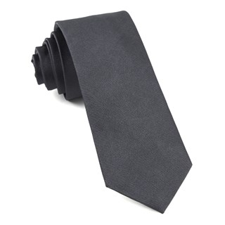 Grosgrain Solid Charcoal Tie