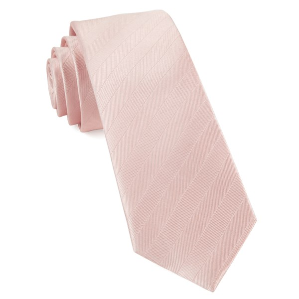Blush Pink Herringbone Vow Tie