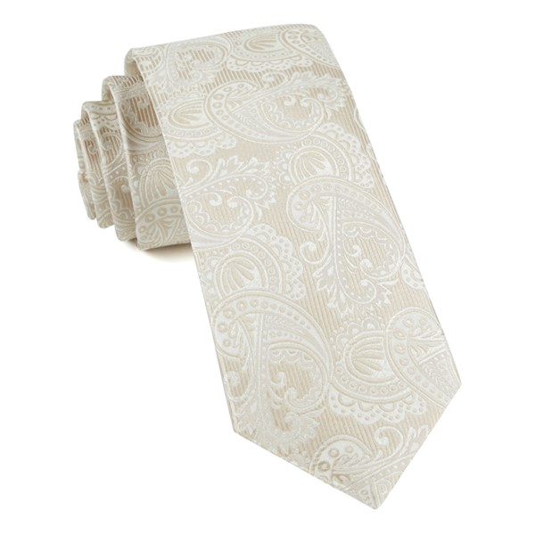Light Champagne Twill Paisley Tie