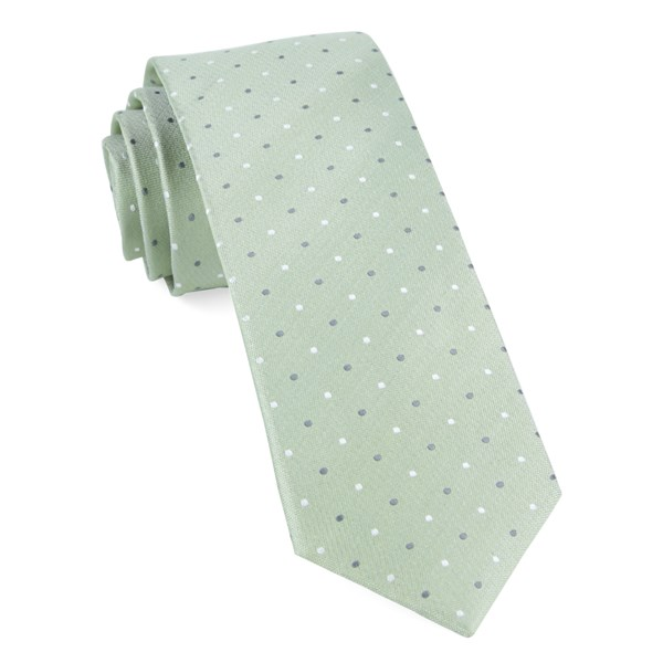 Sage Green Suited Polka Dots Tie
