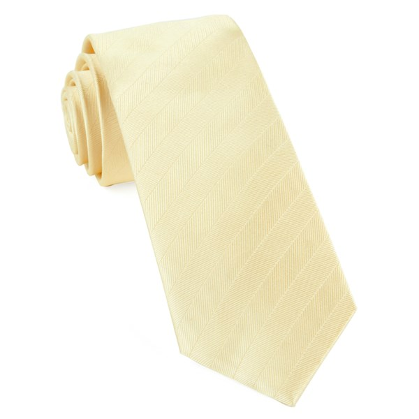 Butter Herringbone Vow Tie