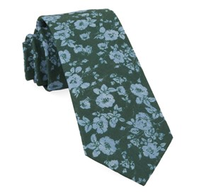 Hunter Green Linen Buds ties