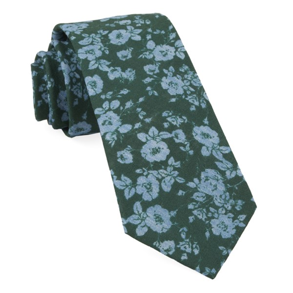 Hunter Green Linen Buds Tie