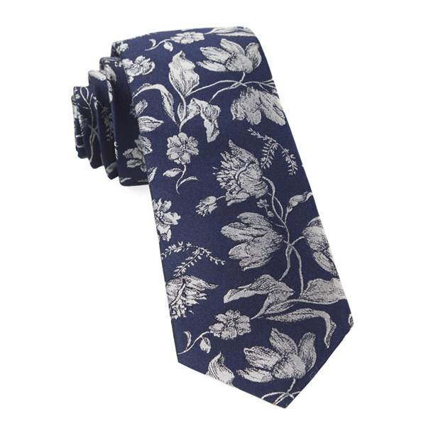Navy Floral Swell Tie
