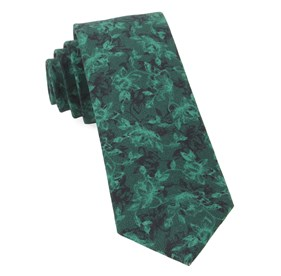 Bovine Floral Hunter Green Ties