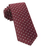 Ties - Mini Skull And Crossbones - Burgundy