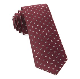 Mini Skull And Crossbones Burgundy Ties