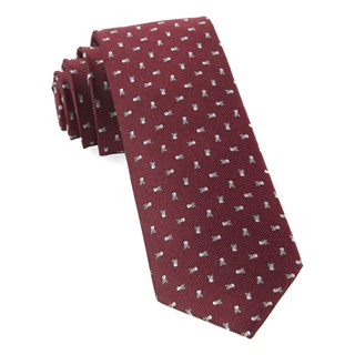 Mini Skull And Crossbones Burgundy Tie