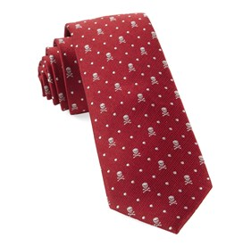 Skull Dots Apple Red Ties