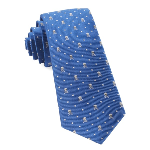 Royal Blue Skull Dots Tie