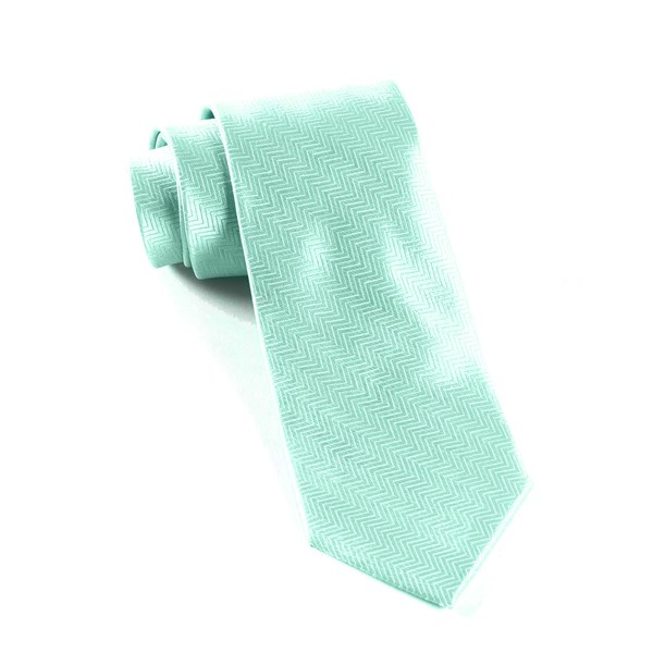 Pool Blue Herringbone Tie