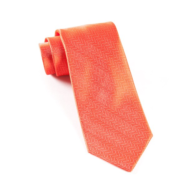 Persimmon Red Herringbone Tie