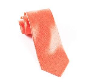 Coral Herringbone ties