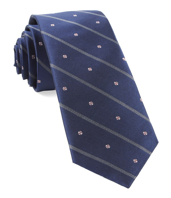 Baseball Stripe Navy Tie