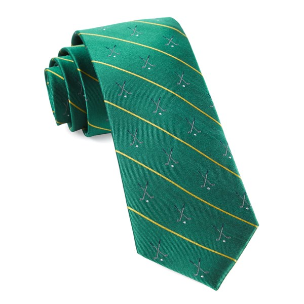 Kelly Green Golf Club Stripe Tie