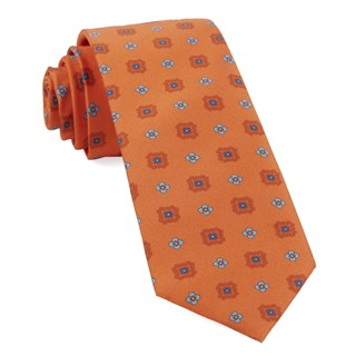 Wildflower Medallion Tangerine Tie