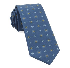 Dark Blue Wildflower Medallion ties