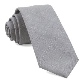 Neutral Streak Plaid Silver Ties