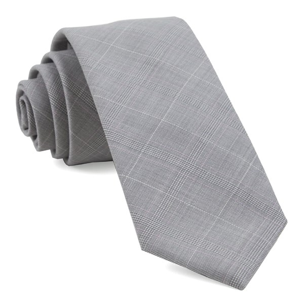 Neutral Streak Plaid Silver Tie