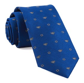Royal Blue Menorahs boys ties