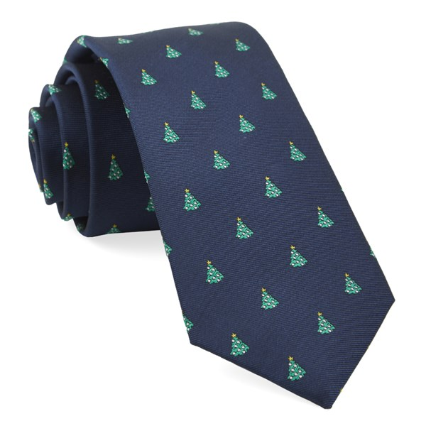 Navy O Christmas Tree Tie