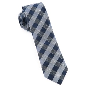 splattered gingham deep slate blue ties