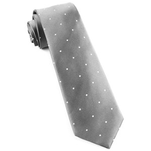 satin dot silver ties
