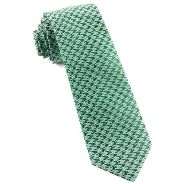 Moss Green White Wash Houndstooth Tie