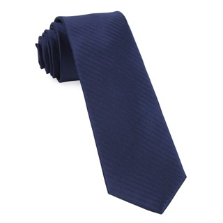 Sound Wave Herringbone Navy Tie