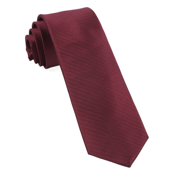 Burgundy Sound Wave Herringbone Tie