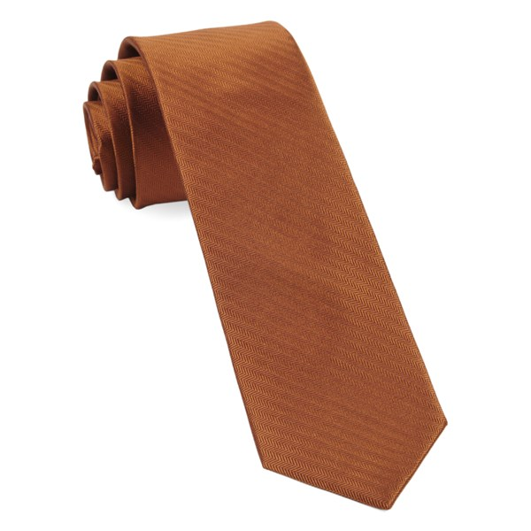 Burnt Orange Sound Wave Herringbone Tie