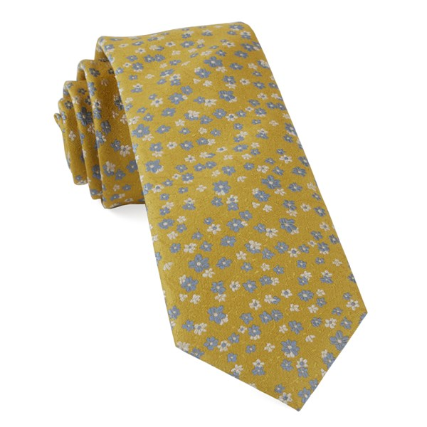 Yellow Gold Free Fall Floral Tie