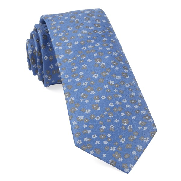 Light Blue Free Fall Floral Tie