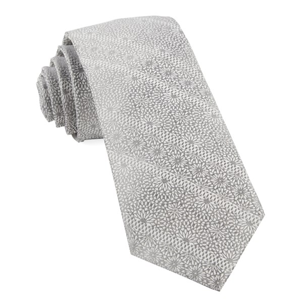 Grey Wedded Lace Tie