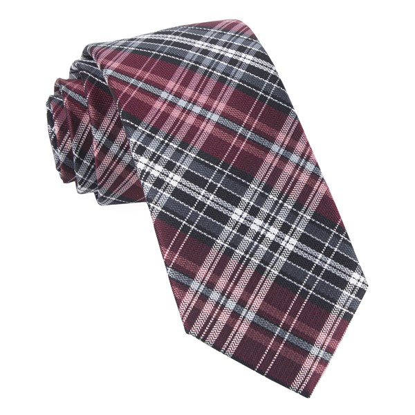 Burgundy Motley Plaid Tie