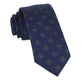 Navy Medallion Shields ties