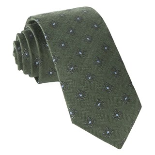Medallion Shields Army Green Tie