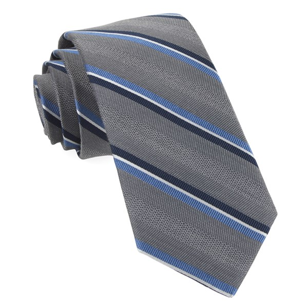 Grey Short Cut Stripe Tie