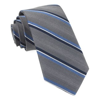 Short Cut Stripe Grey Tie