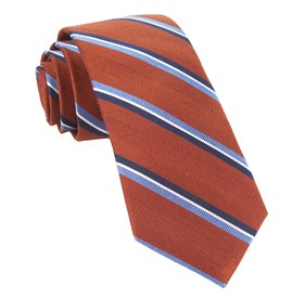 Short Cut Stripe Burnt Orange Ties