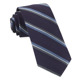Short Cut Stripe Eggplant Ties