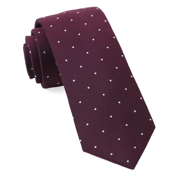 Wine Dotted Report Tie