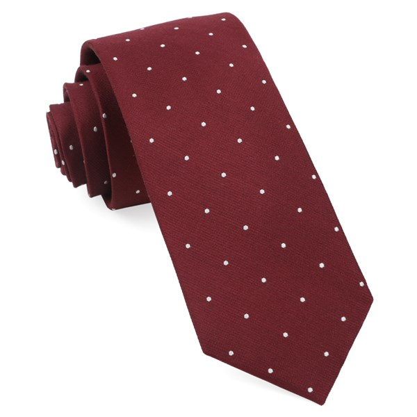 Burgundy Dotted Report Tie