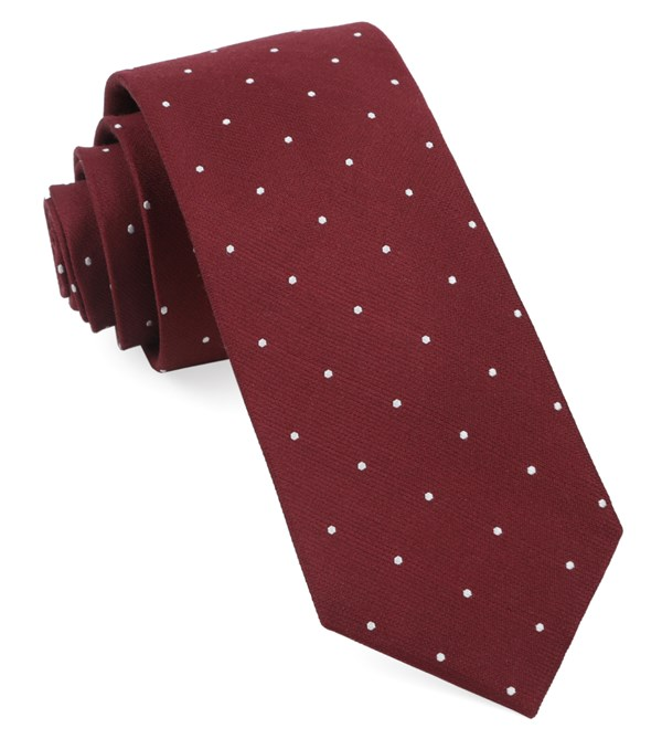 Dotted Report Burgundy Tie