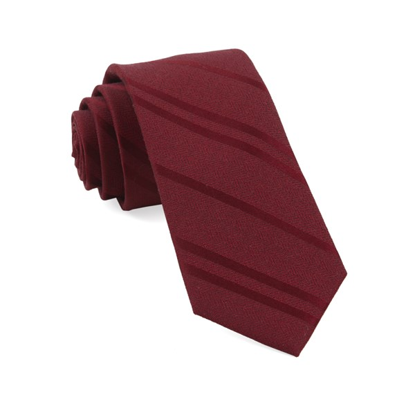 Burgundy Wool Path Stripe Tie